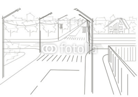 Naklejki Linear architectural sketch residential streets crossroad
