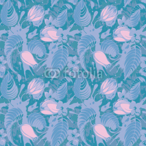 Fototapety Blue floral seamless pattern