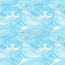 Naklejki Japanese seamless waves pattern in ocean colors