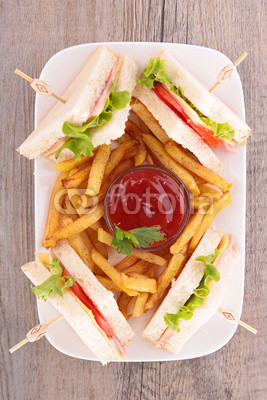 Fototapety sandwich and fries