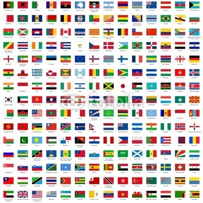 Fototapety alphabetically sorted flags of the world